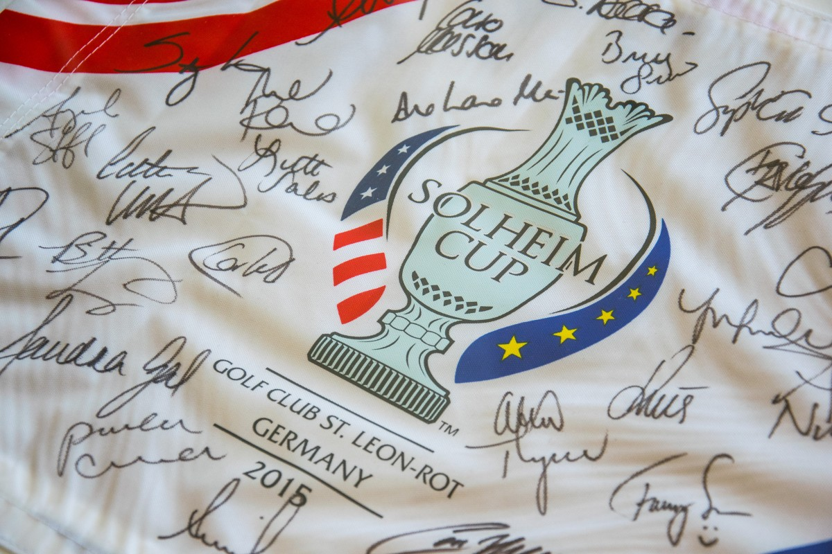 Pinflag from 2015 Solheim Cup at St. Leon Rot, Germany